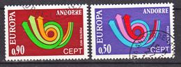 Andorre 226 227 Europa  Oblitéré Used Cote 13 - Andorre Français