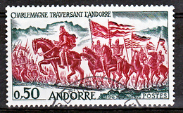 Andorre 167 Charlemagne Traversant Les Pyrénées Oblitéré Used Cote 11 - Andorre Français