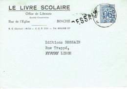 """Griffe RESSAIX Sur Carte Postale Publicitaire De 1952 De BINCHE """"LE LIVRE SCOLAIRE"""" Office De Librairie - Marcophilie"""