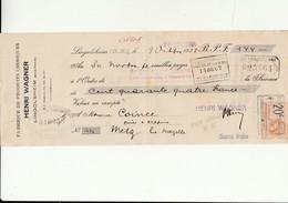 A 1 - Acquit Bancaire - Fabrique Wagner à LINGOLSHEIM - 67 - Fiscaux
