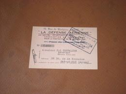 CARTE LA DEFENSE AERIENNE Paris Vers 1930, Membre SENATEUR De MEUSE Pol CHEVALIER Bar-le-Duc - Documents