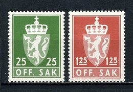 NORVEGE 1975 Service N° 97/98 ** Neufs MNH Superbes C 2,25 € Armoiries Coat Of Arms Couronne Faune Lion Animaux - Service