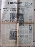 Journal L'Humanité (17 Août 1957) Saisie De L'Humanité - Affaire Alleg - - Journaux - Quotidiens
