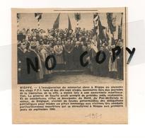 HISTOIRE DE NIEPPE. ARTICLE DE LA REVUE NORD FRANCE DE 1951. INAUGURATION DU MEMORIAL F F I  AVEC LE GENERAL DE GAULLE. - Documents Historiques