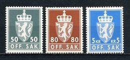 NORVEGE 1976 Service N° 99/101 ** Neufs MNH Superbes C 3.50 € Armoiries Coat Of Arms Couronne Faune Lion Animaux - Service