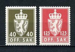 NORVEGE 1977 Service N° 102/103 ** Neufs MNH Superbes C 3.25 € Armoiries Coat Of Arms Couronne Faune Lion Animaux - Service