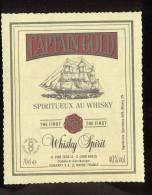 Etiquette Spritueux Au Whisky  - Captain Gold  -  Dubarry  Le Havre  (76)  -  Thème Bateau Voilier - Whisky