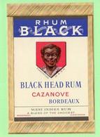 """Etiquette Rhum Black Head Rum Cazanove Bordeaux Départements Français D'outre Mer """"visage Homme"""" - Rhum"""