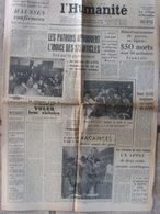 Journal L'Humanité (14 Août 1957) Hausses Confirmées - Semaine De Guerre En Algérie - Alleg - Village D'Hermillon - Journaux - Quotidiens