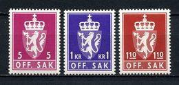 NORVEGE 1980 Service N° 104/106 ** Neufs MNH Superbes C 5 € Armoiries Coat Of Arms Couronne Faune Lion Animaux - Service