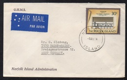ILE NORFOLK ISLAND / 1974 LETTRE OFFICIELLE PAR AVION POUR L'ALLEMAGNE - OHMS (ref LE2817) - Ile Norfolk