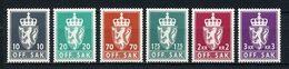 NORVEGE 1982 Service N° 110/115 ** Neufs MNH Superbes C 15 € Armoiries Coat Of Arms Couronne Faune Lion Animaux - Service