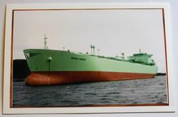 Carte Avec Photo Bateau Berge Denise Gazier Marine Marchande - Tanker