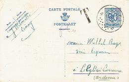 Entier CP 142 C.Ciney 5/1/1954 Griffe T Vers LEGLISE Taxée 60 C Manuscrit - Taxes