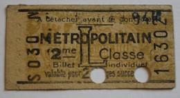 Ancien Ticket Métro Métropolitain L 2ème Classe Publicité Rasoir Pour être Bien Rasé Lame RB  RAZOR BLADES Poinçonné - Subway