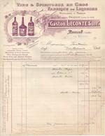 Facture 1933  -  Vins Et Spiritueux En Gros Fabrique De Liqueur  Gaston Leconte Succ  à  Brulon  (72) - Factures