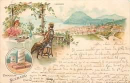 CPA Carte Publicitaire Chocolat Suchard Lugano Précurseur 1902 - Advertising