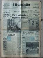 Journal L'Humanité (19 Août 1957) Hausses Continuent - Van Steenbergen - H Alleg - Mont Blanc Du Tacul - Journaux - Quotidiens