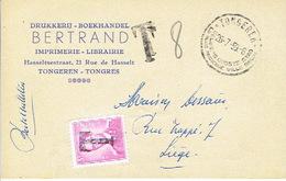 Postkaart Publicitaire (BERTRAND Drukkerij) Met Stempel 28-7-59 TONGEREN Getaxeerd  Met Zegel 1067 + Griffe T - Taxes