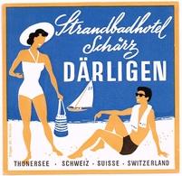 STRANDBAD-HOTEL SCHAERZ DAERLIGEN Ca. 1940 Etiquette De Bagages - Hotel-Etikette - Suisse - Schweiz - Etiquettes D'hotels