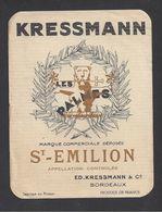 Etiquette De Vin Saint Emilion 50/60 - Les Palmes - Ed. Kressmann à Bordeaux  (33) - Bordeaux