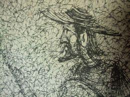 Gravure Ancienne Don Quichotte Et Sancho Panza Signée PEDRO Espagne - Drawings