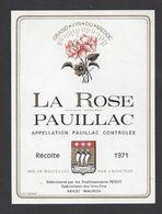 Etiquette De Vin Bordeaux Pauillac 1971 - La Rose  Pauillac - Perot à Mauron   (56) - Bordeaux