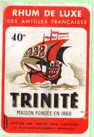 Rare, Etiquette Rhum De Luxe Des Antilles Françaises, Trinité, 14.5x10 Cm - Rhum