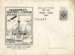 CF 14 - BOLLETTINO MENSILE NOVEMBRE DICEMBRE 1951 A. R. SANGUINETTI - 8 PAGINE + COP - Italia