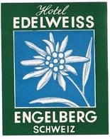 HOTEL EDELEISS ENGELBERG Ca. 1940 Etiquette De Bagages - Hotel-Etikette - Suisse - Schweiz - Etiquettes D'hotels