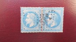 Paire Napoleon N° 29 Bb Variété A La Corne Tenant A Normal - 1863-1870 Napoléon III Lauré