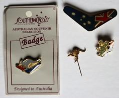4 Broches Badges Pin's Australie Boomerang Kangourou Koala Australia Peint Main Hand Painted - Badges