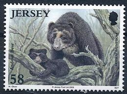 Jersey 2009: Spectacled Bear (Tremarctos Ornatus) Michel-No.1402 ** MNH  START BELOW POSTAL FACE VALUE (£ 0.58) - Bears