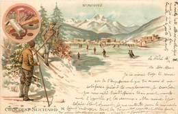 CPA Chocolat Suchard St Moritz Saint Ski Station Patinage Dessert Précurseur Circulée 1902 - Publicité