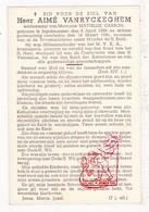 DP Schoolmeester & Militantenleider MVKA - Aimé VanRyckeghem ° Ingelmunster 1868 † 1941 X Math. Carron - Images Religieuses