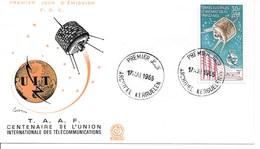 FDC Centenaire De L'Union Internationale Des Télécommunications 1965 - Terres Australes Et Antarctiques Françaises (TAAF)
