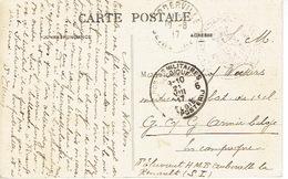 Cachet Corresp. Pr ARMEE BELGE + POSTES MILITAIRES BELGIQUE Sur Carte S.M. De FECAMP à AUBERVILLE Prof WEEKERS Médecin - Guerre 14-18