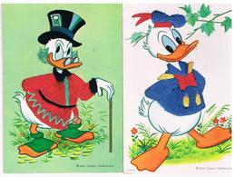 2 CPM Brodées Walt Disney Donald Duck Et Oncle Picsou - Brodées