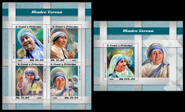 S. TOME & PRINCIPE 2018 - Mother Teresa. M/S + S/S Official Issue - Mother Teresa