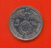 ALLEMAGNE - DEUTSCHESREICH : 5 REICHSMARK 1938 E - [ 4] 1933-1945 : Troisième Reich
