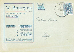 CP Publicitaire ANTOING 1952 - W. BOURGIES - Imprimerie Typographique - Papeterie - Librairie - Antoing