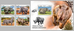 ANGOLA 2018 - Rhinoceros, 4v + S/S. Official Issue - Rhinozerosse