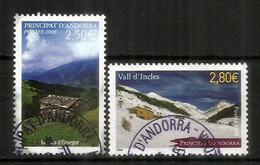 Bordes De L'Ensegur & Vallée D'Incles, Deux Timbres Hautes Faciales  5,30 €, Pour Lettres R,oblitérés, 1 ère Qualité - Andorre Français