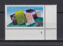 Bund 1187 Eckrand Rechts Unten Mit FN 2 IUGG Hamburg 1983 120 Pf ** - [7] République Fédérale