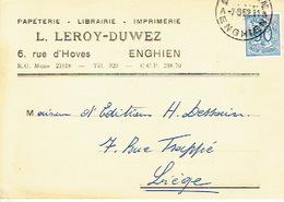 CP Publicitaire ENGHIEN 1952 - L. LEROY-DUWEZ - Imprimerie-Papeterie-Librairie - Enghien - Edingen
