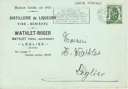 CP Publicitaire LEGLISE 1937 - WATHLET-ROGER - Distillerie De Liqueurs - Vins - Genièvre - Léglise