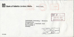 Malta Registered Bank Cover With Meter Cancel Sent To Germany Valetta 20-3-1992 - Malta