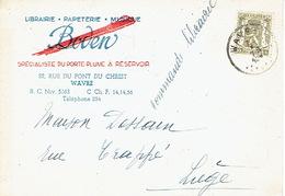 CP Publicitaire WAVRE 1947 - BODEN - Spécialiste Du Porte-plume à Réservoir, Librairie, Papeterie, Musique - Wavre