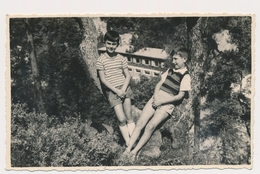 REAL PHOTO Ancienne Two Boys In Shorts  In Nature Garcons - Guber Srebrenica Old Orig. - Photographs