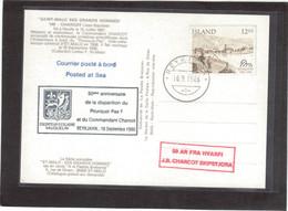 E44 - ISLANDE - Sur Carte Portrait De CHARCOT - REYKJAVIK 16.9.86 Cachet 50ème Anniversaire Mort De CHARCOT. - 1944-... Republique